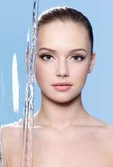 Beauty face of woman with water