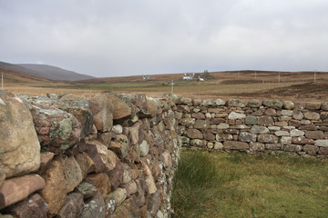 scottish stone wall in rural ambiance