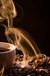 Dry coffee with golden smoke