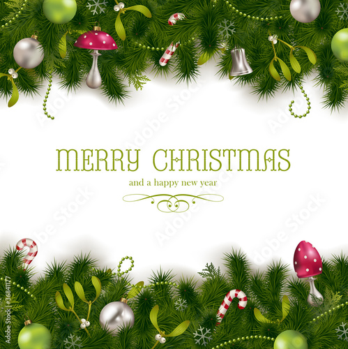 christmas background with firtree, mistletoes and ornaments