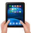 Hands holding digital tablet computer with icons. Vector