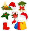 Set of Christmas objects. Vector.