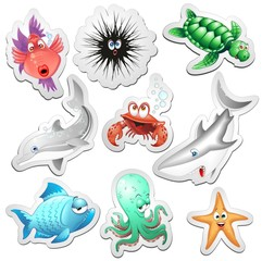 Animali Mare Adesivi Sticker Sea Ocean Animals Icons-Vector