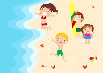 Boys and girls on beach