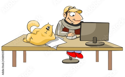 Illustration: cartoon man working at a computer, a cat lying on the ...