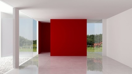Red Wall in a White Loft