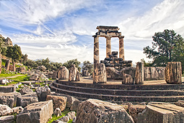 Remains of temple of Athena in Delphi