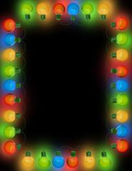 Frame of Christmas lights  on dark background