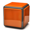 Orange cube isolated on white background