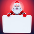 Santa Claus with white sign board