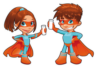 Young superheroes. Vector characters. Isolated objects