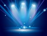 magická reflektory s modré paprsky