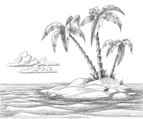 Tropical island vector sketch
