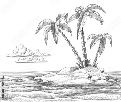 Tropical island vector sketch - 36849168