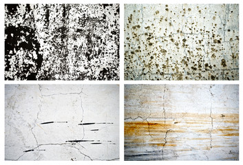 Set of four natural scratched wall textured backgrounds