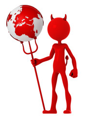 Devil hold earth globe. Isolated