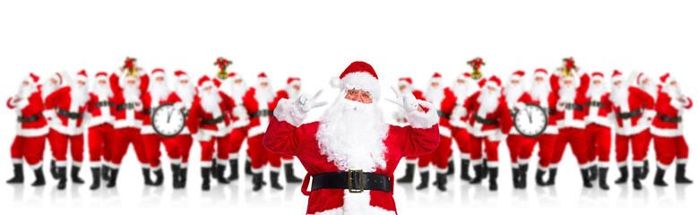 Group of happy Santa Claus.