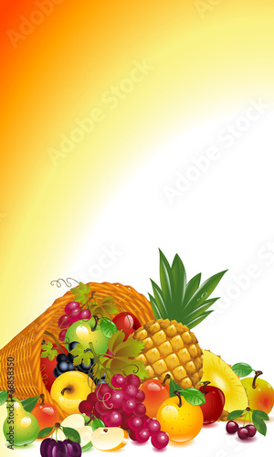 Thanksgiving card. cornucopia with fruits