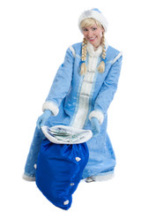 girl in christmas costume of Snow Maiden with bag of money