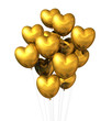gold heart shaped balloons isolated on white
