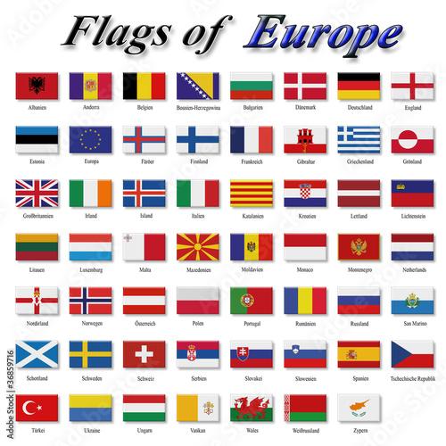 Leinwandbild Motiv Flags of Europe