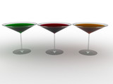 Glass wine glasses with colored liquid on a white background. №1