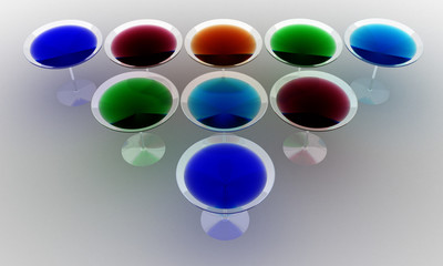 Glass wine glasses with colored liquid on a white background. №4