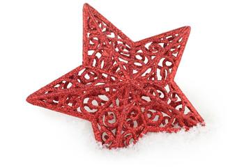 étoile de noël dans la neige