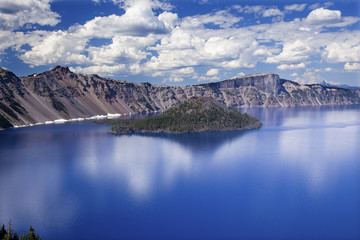 Wizard Island Crater Lake Reflection Clouds Blue Sky Oregon