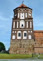 Medieval castle tower in town Mir in Belarus