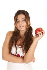 woman white dress hold apple