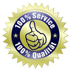 100% service 100% qualität button gold gezackt