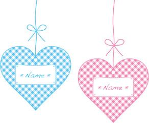 karoherzen rosa und blau