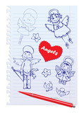 Hand-Drawn Sketchy Angels on Lined Paper Background poster