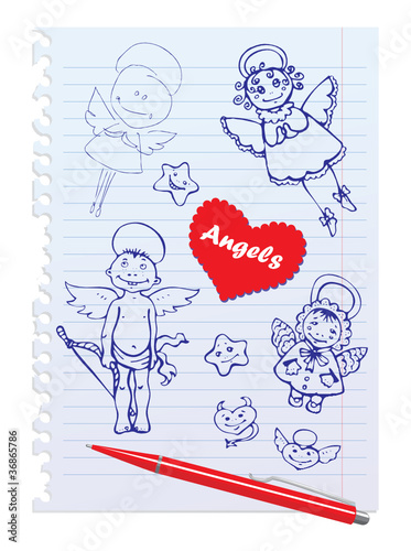 Hand-Drawn Sketchy Angels on Lined Paper Background