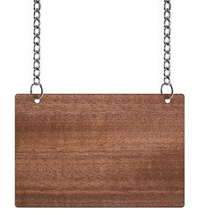 wooden sign on the chains. with clipping path