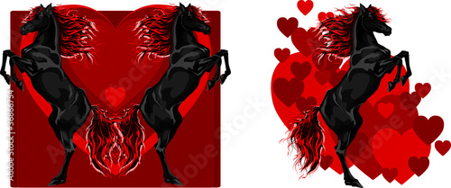 St Valentine black rear horse set