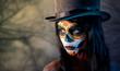 Leinwanddruck Bild - Sugar skull girl in tophat