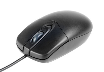 black laser computer mouse isolated on white background