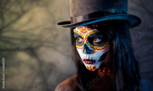 Leinwanddruck Bild Sugar skull girl in tophat