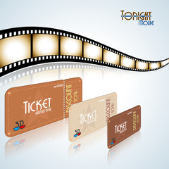 Movie background. Film strip and tickets. Vector