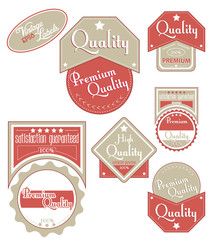 Brown-red quality labels. Vector illustration.