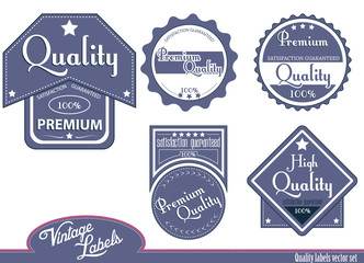 Blue quality labels.Vector illustration.
