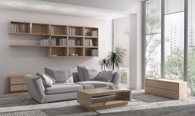 Interno con divano e finestre
