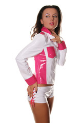 Pretty Model Wearing Fashionable PVC Jacket and Shorts