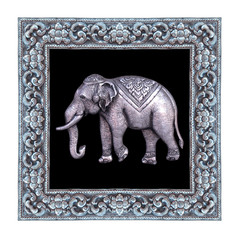 Silver elephant and silver frame handmade