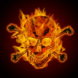 Fire Burning Flaming Metallic Skull with Crossbones poster