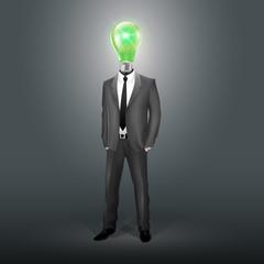 Businessman with Green Bulb Head