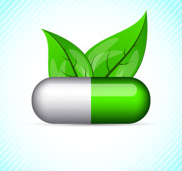 Background with pill and leaves
