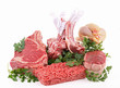 isolated raw meats on white background